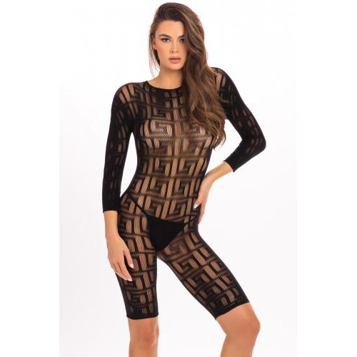 Transparante Catsuit Reckless - Zwart